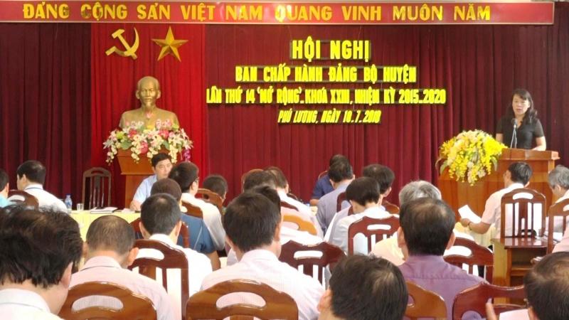 huyen phu luong hop ban chap hanh dang bo huyen lan thu 14