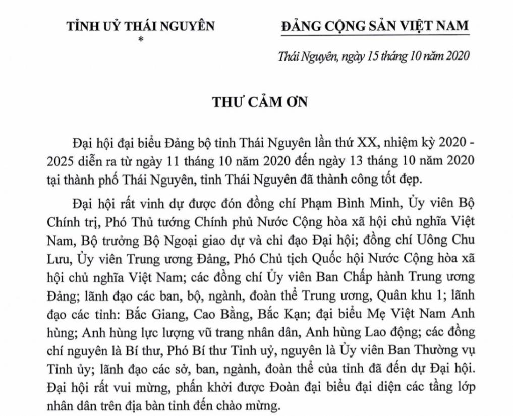Thư cảm ơn của Ban Chấp hành Đảng bộ tỉnh Thái Nguyên khóa XX