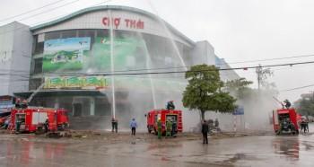Thực tập phương án chữa cháy và cứu nạn, cứu hộ tại chợ Thái, TP Thái Nguyên
