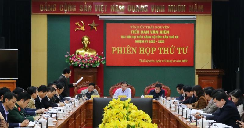 phien hop thu 4 tieu ban van kien dai hoi dai bieu dang bo tinh thai nguyen lan thu xx