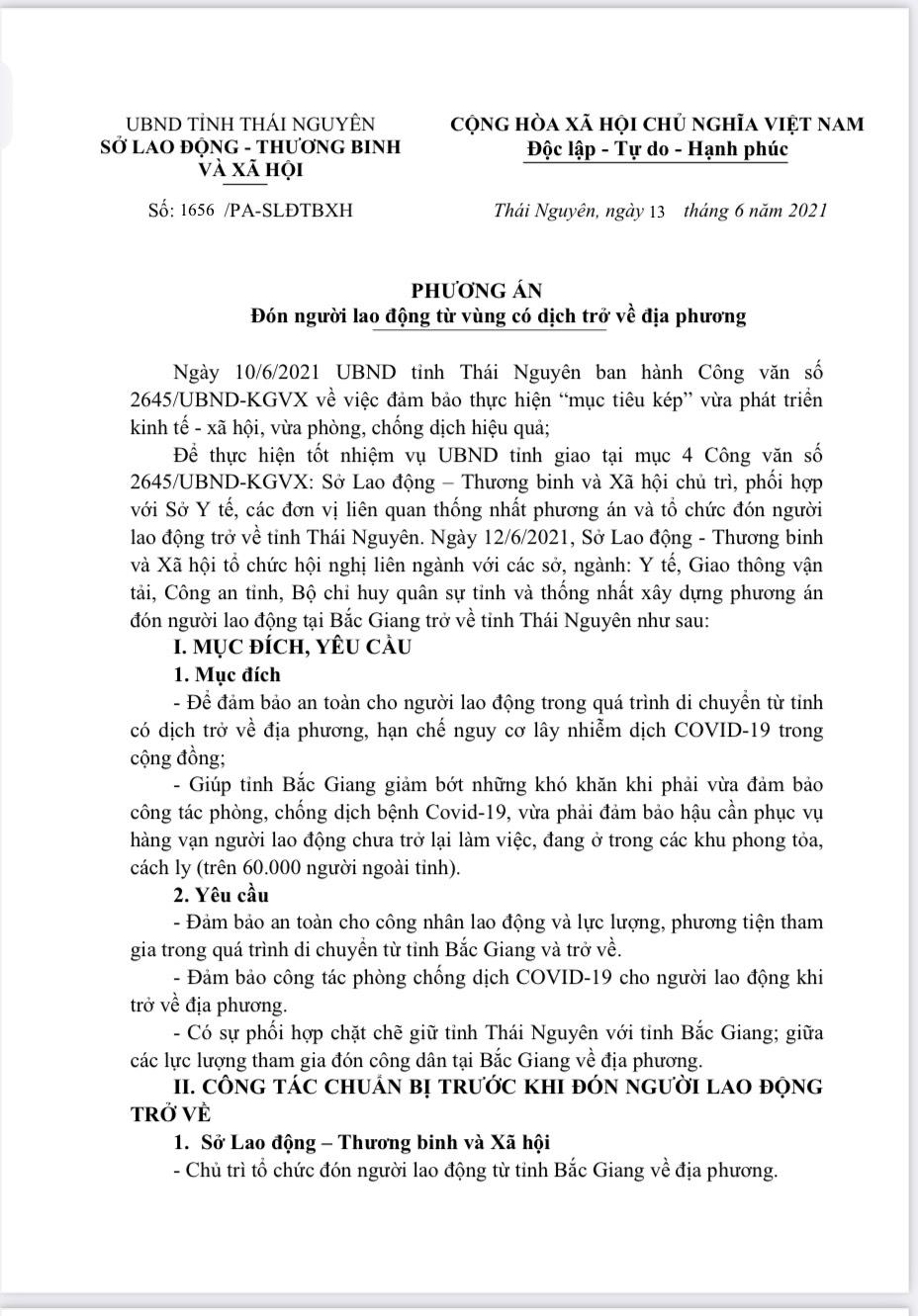 15-16/6 : Thái Nguyên sẽ đón gần 3000 công nhân từ Bắc Giang