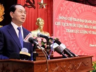 Chủ tịch nước: Lực lượng vũ trang tỉnh Thanh Hóa cần tích cực đổi mới