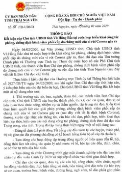 Kết luận của Chủ tịch UBND tỉnh Thái Nguyên về công tác phòng, chống dịch bệnh viêm phổi cấp do chủng mới của virut Corona gây ra