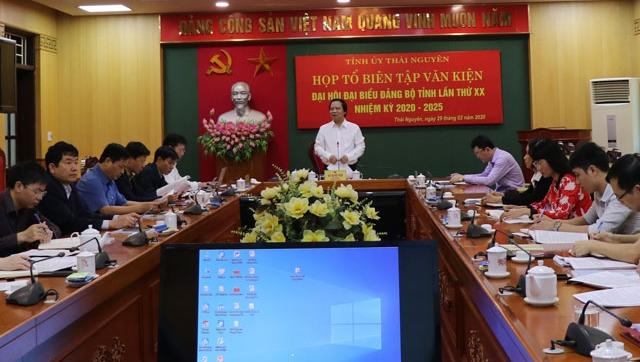 Họp Tổ biên tập Tiểu ban Văn kiện Đại hội Đảng bộ tỉnh Thái Nguyên lần thứ XX