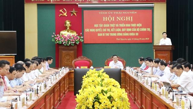 Tỉnh Ủy Thái Nguyên - Quán triệt, triển khai thực hiện các nghị quyết, chỉ thị, kết luận của Bộ Chính trị, Ban Bí thư
