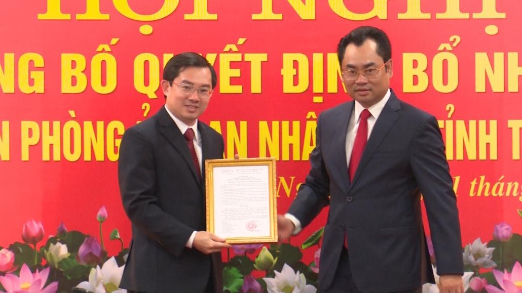 Công bố Quyết định bổ nhiệm Chánh Văn phòng UBND tỉnh