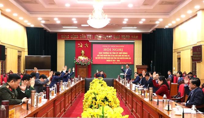 Hội nghị BTV Tỉnh ủy (mở rộng): Giới thiệu ứng cử đại biểu Quốc hội khóa XV và HĐND tỉnh Thái Nguyên khóa XIV