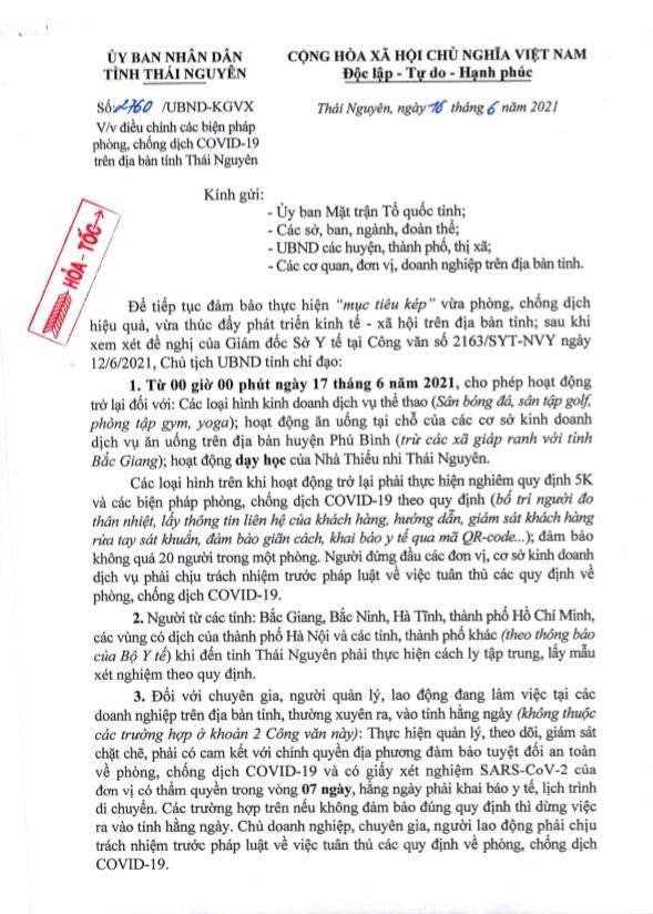 Điều chỉnh các biện pháp phòng, chống dịch COVID-19 trên địa bàn tỉnh Thái Nguyên
