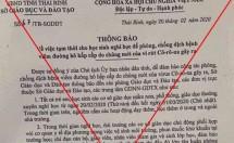 cong van cho hoc sinh thai binh nghi hoc het thang 3 la gia mao