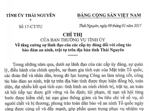 Chỉ thị về tăng cường sự lãnh đạo của các cấp ủy đảng đối với công tác bảo đảm an ninh, trật tự trên địa bàn tỉnh Thái Nguyên