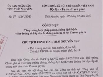 Chủ tịch UBND tỉnh Thái Nguyên chỉ đạo cập nhật, nắm chắc số lượng người Trung Quốc và người Việt Nam từ Trung Quốc trở về tại địa bàn tỉnh Thái Nguyên