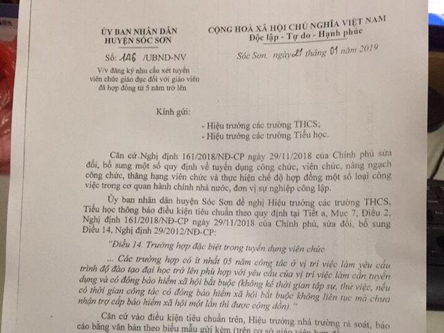 """Gần 300 GV Sóc Sơn """"kêu cứu"""" vì có nguy cơ mất việc, lãnh đạo huyện nói gì?"""