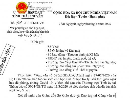 thai nguyen tiep tuc cho tre mam non hoc sinh tieu hoc thcs nghi hoc tu ngay 163 den het ngay 2932020