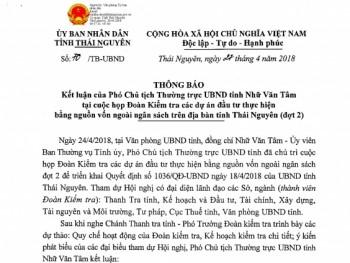 Quyết định của UBND tỉnh Thái Nguyên về việc kiểm tra một số Dự án đầu tư thực hiện bằng nguồn vốn ngoài ngân sách trên địa bàn tỉnh (đợt 2)