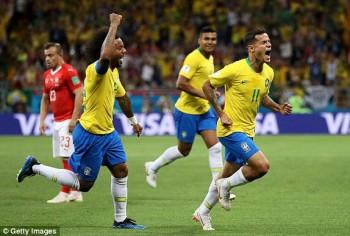 Brazil 1-1 Thụy Sĩ: Siêu phẩm của Coutinho là chưa đủ
