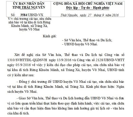 Công văn V/v chủ trương cải tạo, sửa chữa nhà bảo vệ tại khu di tích Rừng Khuôn Mánh, xã Tràng Xá, huyện Võ Nhai