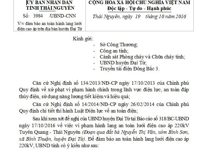 Công văn v/v đảm bảo an toàn hành lang lưới điện cao áp trên địa bàn huyện Đại Từ