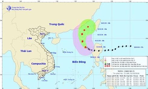 Bão số 7 giật cấp 12, cách quần đảo Hoàng Sa khoảng 580km