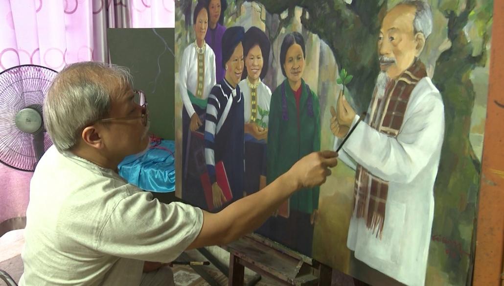 Họa sỹ Thái Nguyên với chân dung Hồ Chủ Tịch