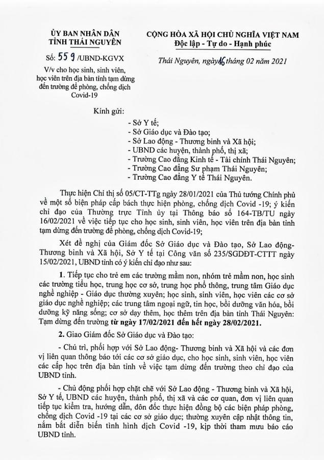 THÁI NGUYÊN: HỌC SINH, SINH VIÊN TIẾP TỤC NGHỈ HỌC ĐẾN NGÀY 28/02/2021