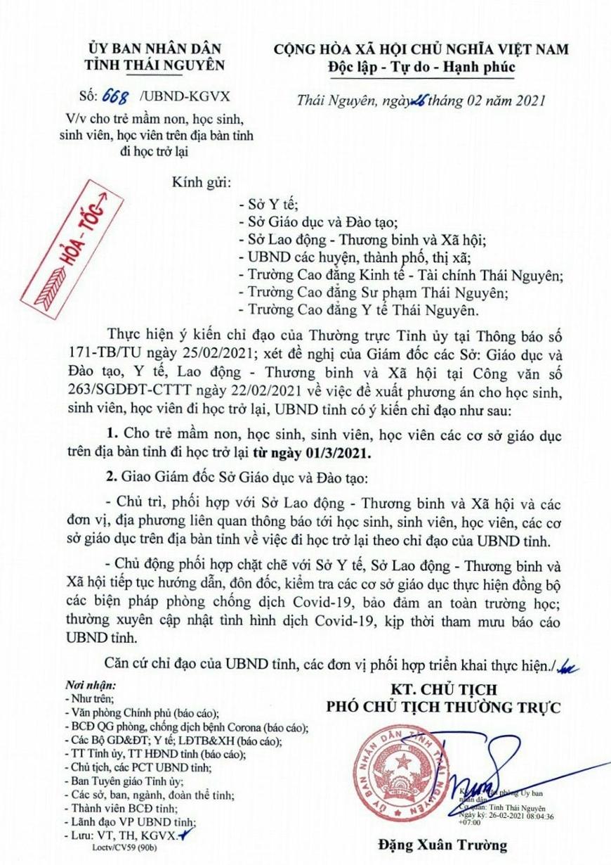 Thái Nguyên: Trẻ mầm non học sinh, sinh viên học trở lại từ thứ hai ngày 1/3/2021