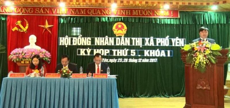 HĐND T.X Phổ Yên tổ chức kỳ họp thứ 5, nhiệm kỳ 2016 - 2021