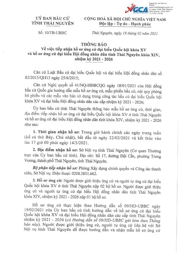 Tiếp nhận hồ sơ ứng cử ĐBQH khóa XV và đại biểu HĐND tỉnh Thái Nguyên khóa XIV, nhiệm kỳ 2021-2026