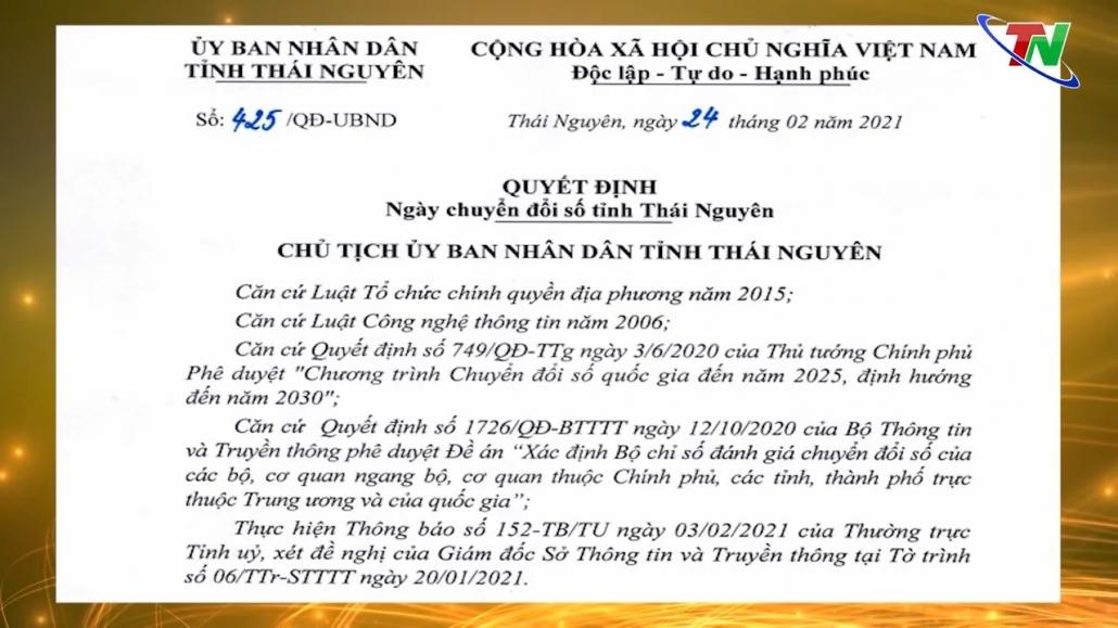Thái Nguyên trở thành tỉnh đầu tiên trong cả nước có Ngày Chuyển đổi số