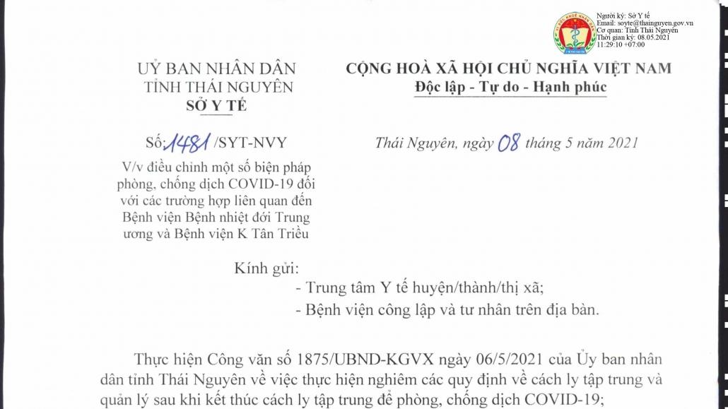 Một số biện pháp phòng, chống dịch COVID-19 đối với các trường hợp liên quan đến Bệnh viện Bệnh nhiệt đới Trung ương và Bệnh viện K Tân Triều