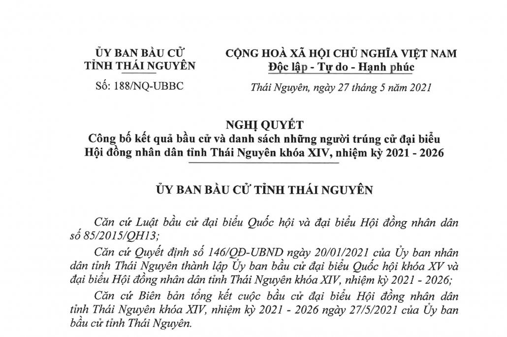 Danh sách 66 đại biểu Hội đồng nhân dân tỉnh Thái Nguyên khóa XIV, nhiệm kỳ 2021-2026