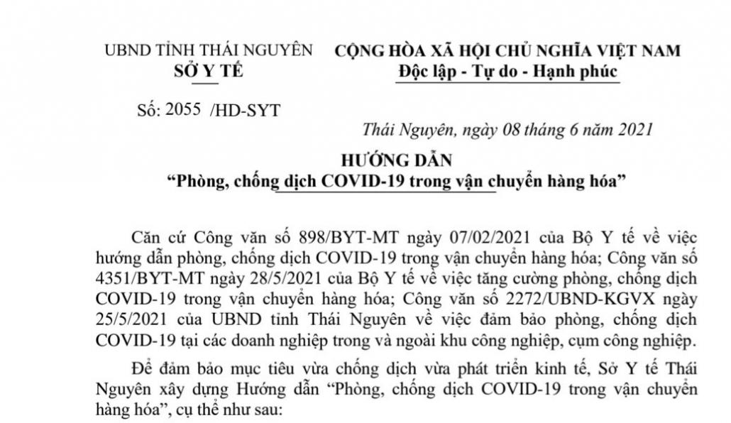 Hướng dẫn phòng, chống dịch COVID-19 trong vận chuyển hàng hóa