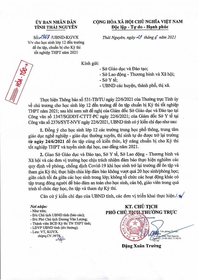 Thái Nguyên: Học sinh lớp 12 trở lại trường học từ ngày 24/6/2021