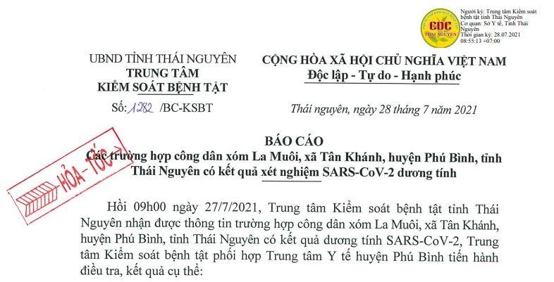 Phú Bình: Thêm 5 trường hợp dương tính với SARS-CoV-2
