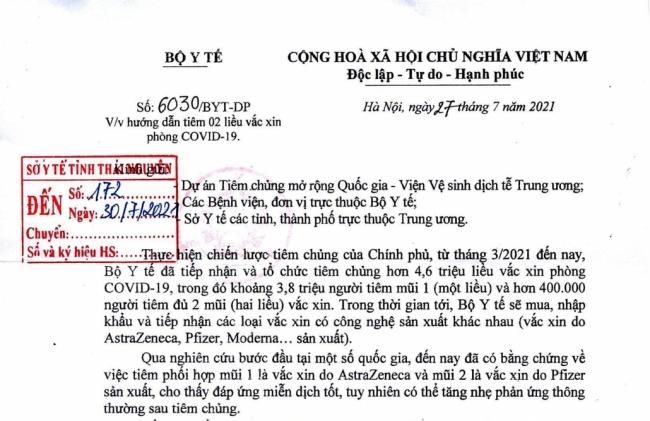 Hướng dẫn tiêm 2 liều vắc xin phòng COVID-19