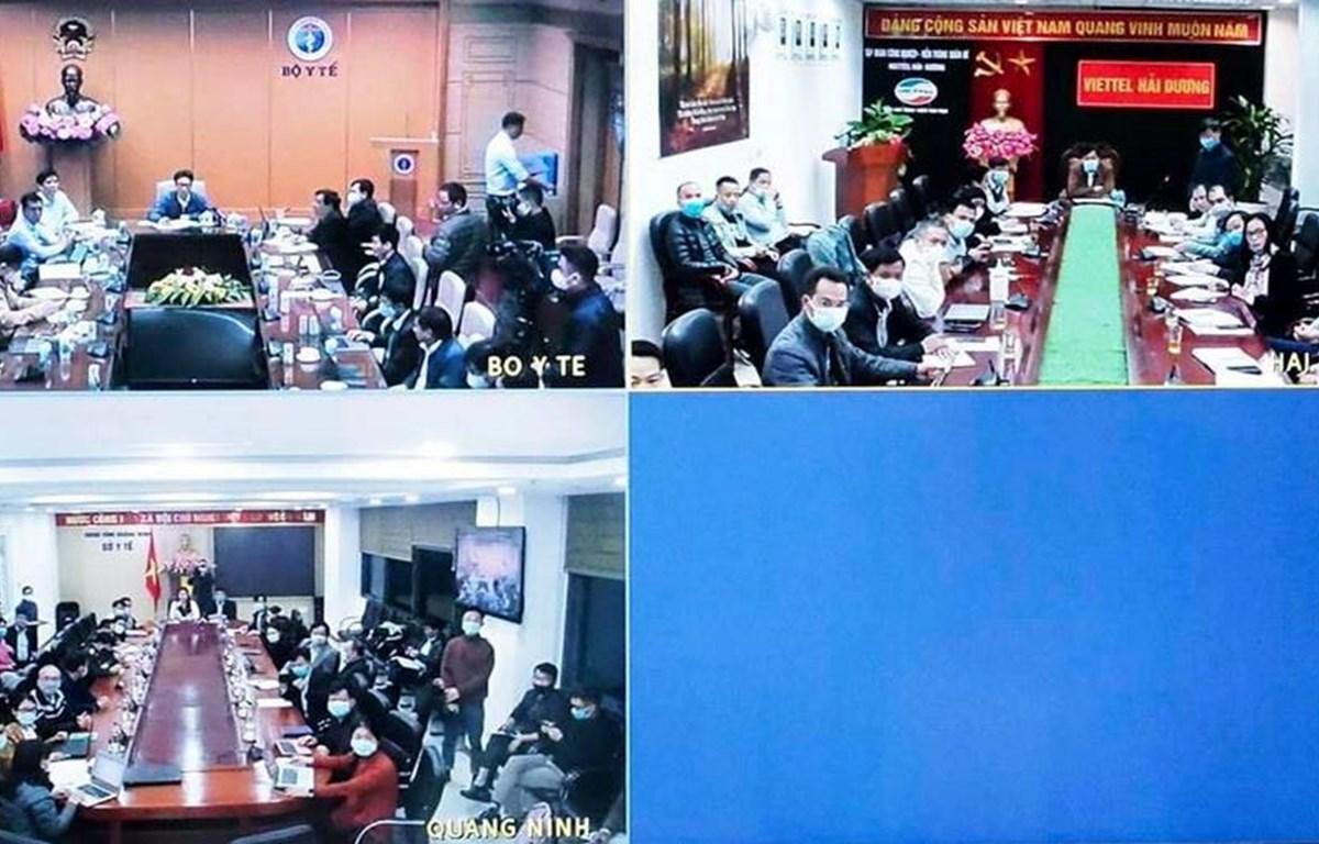 Hình ảnh Ban chỉ đạo Quốc gia phòng, chống dịch COVID-19 họp trực tuyến với Quảng Ninh và Hải Dương. (Nguồn: Bộ Y tế)