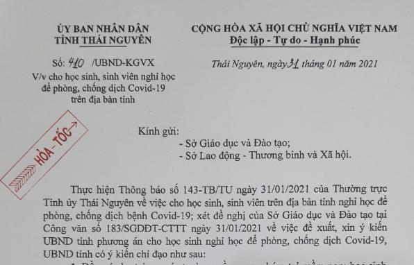 Thái Nguyên: cho trẻ em, học sinh, sinh viên nghỉ học để phòng, chống dịch Covid-19