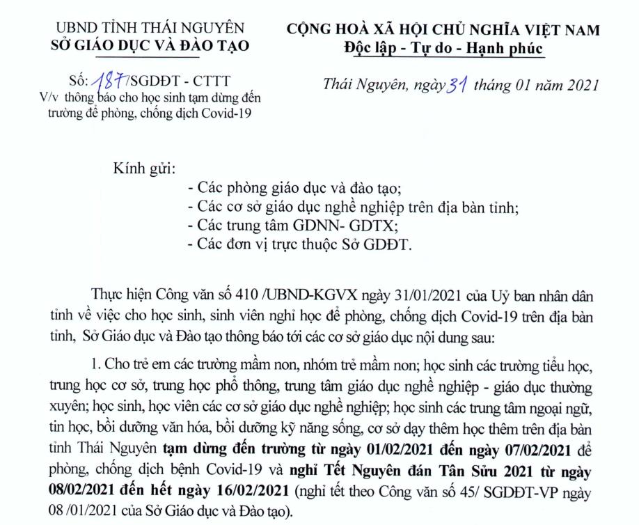 Sở Giáo dục và Đào tạo Thái Nguyên: học sinh tạrn dừng đến trường để phòng, chống dịch Covid-19