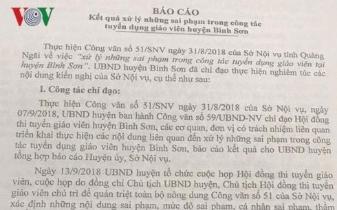 Kỷ luật 10 cá nhân sai phạm trong kỳ thi tuyển giáo viên ở Quảng Ngãi