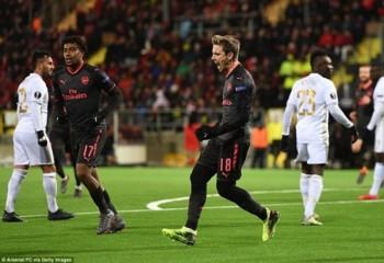 Thắng dễ Ostersunds, Arsenal đặt 1 chân vào vòng 16 đội Europa League