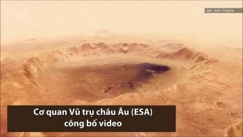 Miệng hố rộng hơn 100 km trên sao Hỏa