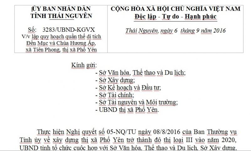 Công văn V/v lập quy hoạch quần thể di tích Đền Mục và Chùa Hương Ấp, xã Tiên Phong, thị xã Phổ Yên