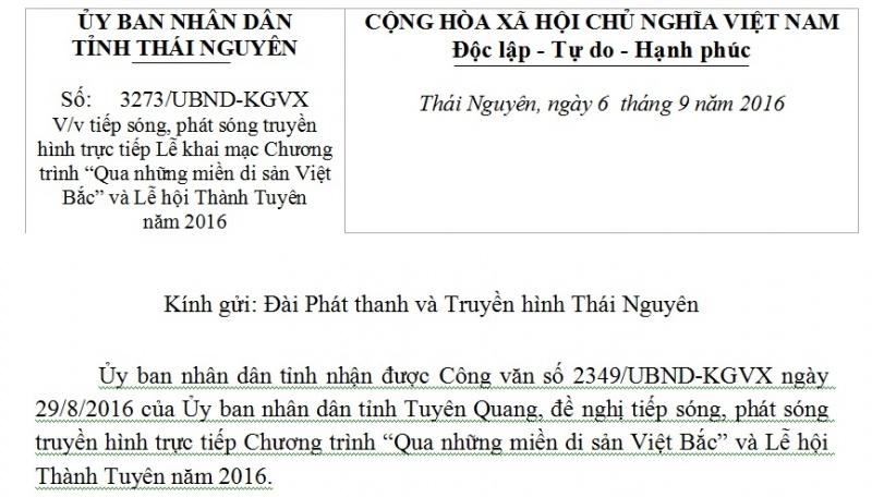 """Công văn V/v tiếp sóng, phát sóng truyền hình trực tiếp Lễ khai mạc Chương trình """"Qua những miền di sản Việt Bắc"""" và Lễ hội Thành Tuyên năm 2016"""