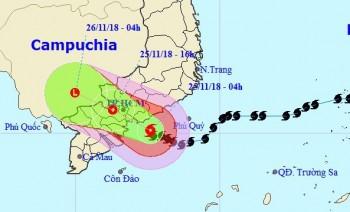 Bão số 9 đang áp sát Vũng Tàu - Bến Tre, nhiều nơi mưa rất to