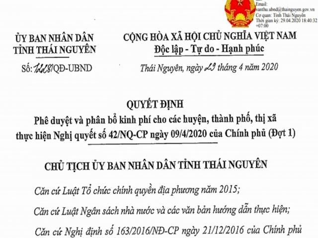 Thái Nguyên: Phê duyệt và phân bổ kinh phí đợt 1 theo Nghị quyết số 42 của Chính phủ